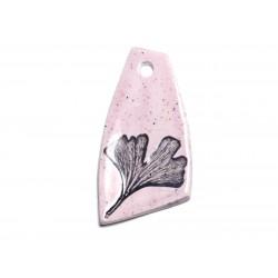 N58 - Pendentif Porcelaine Céramique Nature Feuille Ginkgo 58mm Rose clair Pastel - 8741140004412