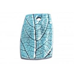 N69 - Pendentif Porcelaine Céramique Nature Feuilles 48mm Bleu Turquoise - 8741140004528