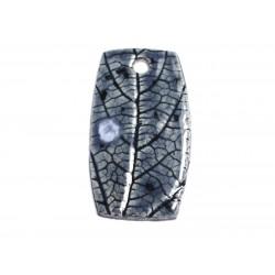 N71 - Pendentif Porcelaine Céramique Nature Feuilles 52mm Gris Bleu Anthracite - 8741140004542