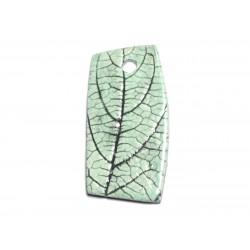 N72 - Pendentif Porcelaine Céramique Nature Feuilles 52mm Vert Turquoise - 8741140004559