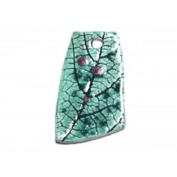 N73 - Pendentif Porcelaine Céramique Nature Feuilles 47mm Vert Turquoise - 8741140004566