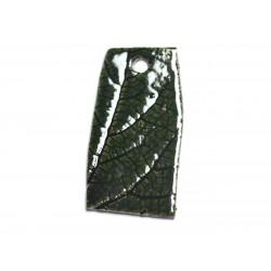 N74 - Pendentif Porcelaine Céramique Nature Feuilles 51mm Vert Olive - 8741140004573