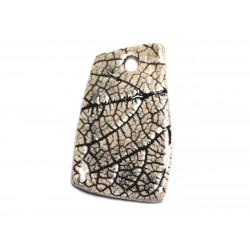 N75 - Pendentif Porcelaine Céramique Nature Feuilles 49mm Beige Ecru - 8741140004580