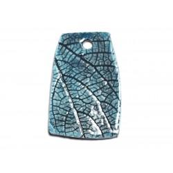 N70 - Pendentif Porcelaine Céramique Nature Feuilles 52mm Bleu Turquoise - 8741140004535