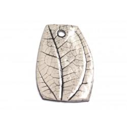N76 - Pendentif Porcelaine Céramique Nature Feuilles 48mm Gris Beige Ecru - 8741140004597