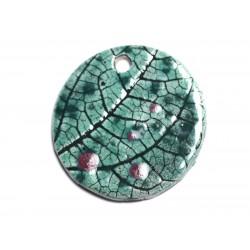 N84 - Pendentif Porcelaine Céramique Nature Feuilles Rond 44mm Vert Turquoise - 8741140004672