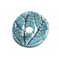 N87 - Pendentif Porcelaine Céramique Nature Feuilles Donut Pi 38mm Bleu Turquoise - 8741140004702