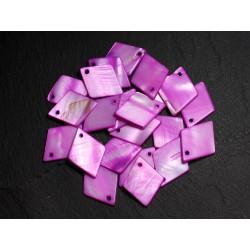 10pc - Perles Pendentifs Breloques Nacre Losanges 21mm Violet Rose Fuchsia - 8741140003538