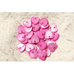 10pc - Pendentifs Breloques Nacre Coeurs 11mm Rose 4558550019233