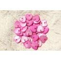 10pc - Dijes de nácar Colgantes Corazones 11 mm Rosa 4558550019233
