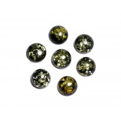 1pc - Cabochon Ambre verte naturelle Rond 10mm - 8741140003262