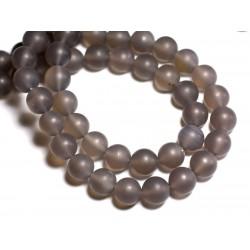 4pc - Perles de Pierre - Agate Grise Mat Boules 12mm - 8741140000407
