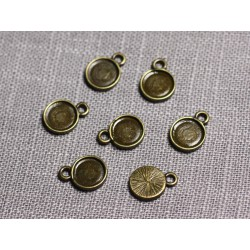 20pc - Supports Pendentifs Cabochons Métal Bronze Ronds 7.5mm - 4558550095206