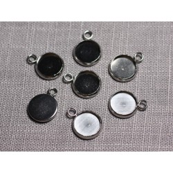 5pc - Supports Pendentifs Cabochons Acier inoxydable Ronds 10mm - 4558550095190