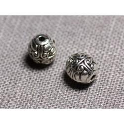 10pc - Perles Métal argenté Olives 8mm ethnique - 4558550095152