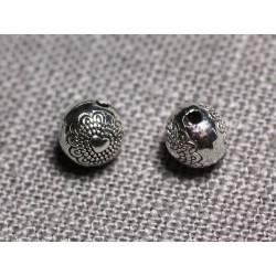 20pc - Perles Métal argenté Rondes 6mm Coeurs - 4558550095138