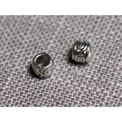 50pc - Perles Métal argenté Rondelles arabesques 4mm trou 2mm - 4558550095114