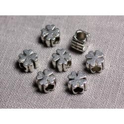 10pc - Perles Métal argenté Trèfle 4 feuilles 9.5mm gros trous 4.5mm - 4558550095176