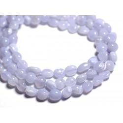10pc - Perles de Pierre - Calcédoine Bleue Nuggets 6-9mm - 4558550089526