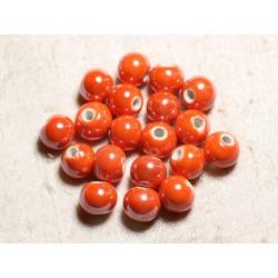 10pc - Perles Céramique Porcelaine Boules 12mm Orange irisé - 4558550088802