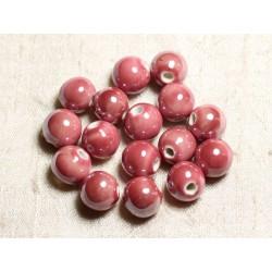 10pc - Perles Céramique Porcelaine Boules 12mm Rose Corail Pêche irisé - 4558550088819