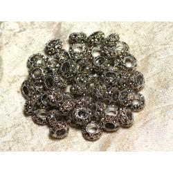 2pc - Perles rondelles 11mm gros trous - Métal Argenté Rhodium et Strass Verre Jaune - 4558550015266