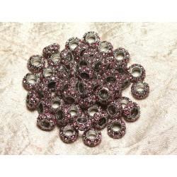 2pc - Perles rondelles 11mm gros trous - Métal Argenté Rhodium et Strass Verre Rose clair - 4558550015471