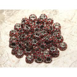 2pc - Perles rondelles 11mm gros trous - Métal Argenté Rhodium et Strass Verre Rouge - 4558550015518