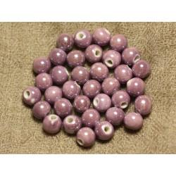 10pc - Perles Porcelaine Céramique Mauve Rose irisé Boules 8mm 4558550010070