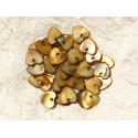 10pc - Colgantes de nácar Charms Hearts 11mm Bronze Brown - 4558550012548