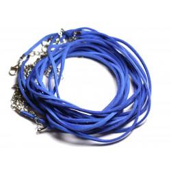 5pc - Colliers Tours de cou 45cm Suédine 2x1mm Bleu roi - 4558550000026