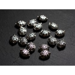 2pc - Perles Argent massif 925 Olives Tortues 11mm - 4558550086488