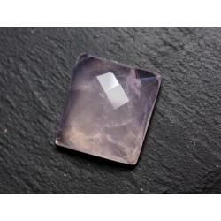 Cabochon Pierre - Quartz Rose Facetté Rectangle 23x20mm N2 - 4558550086235