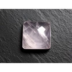Cabochon Pierre - Quartz Rose Facetté Carré 17mm N1 - 4558550086228