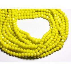 Fil 39cm 90pc env - Perles Verre opaque - Rondelles Facettées 6x5mm Jaune - 4558550084835