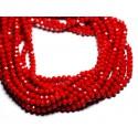 Hilo 39cm aprox 90pc - Cuentas de vidrio opacas - Rondelles facetadas 6x4.5mm Rojo Cereza - 4558550084866