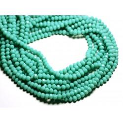 Fil 39cm 90pc env - Perles Verre opaque - Rondelles Facettées 6x4.5mm Vert clair Turquoise - 4558550084910