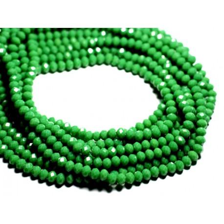 Fil 39cm 90pc env - Perles Verre opaque - Rondelles Facettées 6x4.5mm Vert - 4558550084880