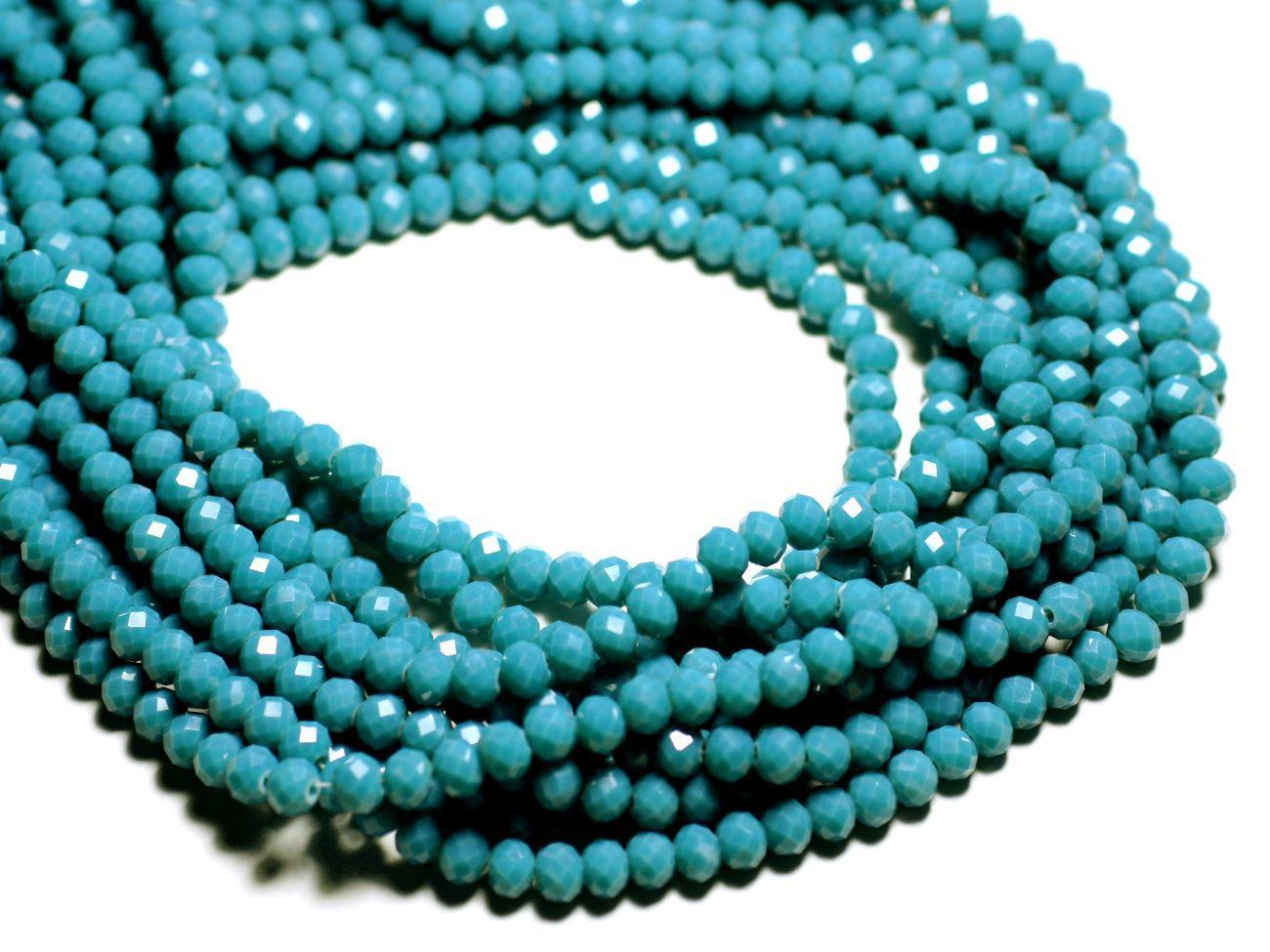Rondelles Facettées 6x4.5mm Bleu Paon Perles Verre opaque Fil 39cm 90pc env
