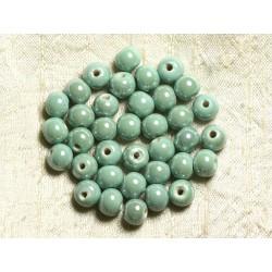 10pc - Perles Porcelaine Céramique Vert Turquoise Boules 8mm 4558550004208