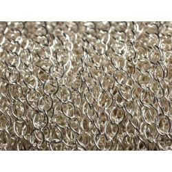 2 Mètres - Chaîne Métal Argenté Qualité Mailles Ovales 5 x 3.5mm 4558550013453