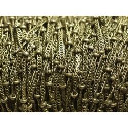 1 mètre - Chaîne Mailles et Perles Métal Bronze Qualité 1.8 - 2mm 4558550008220