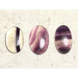 Lot 3 Cabochons de Pierre - Fluorite Ovales 26-29mm N13 - 4558550080042