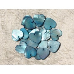 10pc - Perles Breloques Pendentifs Nacre Coeurs 18mm Bleu 4558550000033