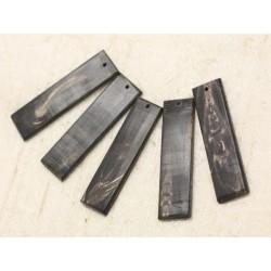 1pc - Pendentif Corne Noire naturelle Rectangle 52x13mm 4558550000064