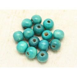10pc - Perles Bois Boules 12-14mm Bleu Turquoise 4558550000361