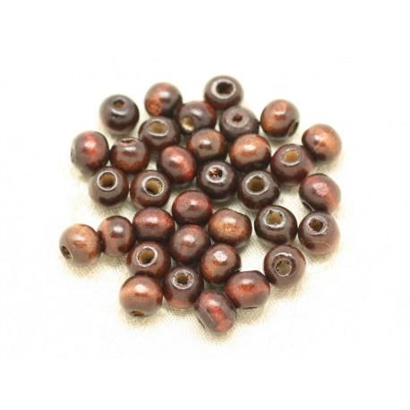 40pc - Perles Bois Rondelles 6x4mm Marron 4558550000378
