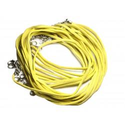 5pc - Colliers Tours de cou 45cm Suédine Jaune 2x1mm 4558550000651