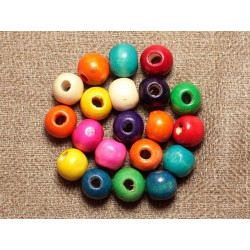 20pc - Perles Bois Boules 8mm Multicolores 4558550001238