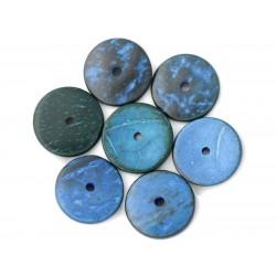10pc - Perles Bois de Coco Rondelles 25mm Bleu - 4558550001283